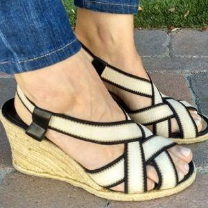 Lauren Strappy Wedge Open Toe Espadrille Sandals 6